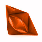 Orange paper vessel, origami sail boat isolated on white background Royalty Free Stock Photos