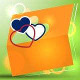 Orange pappers- kort med hjärtor Royaltyfria Bilder