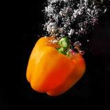 Orange paprika in water Stock Images