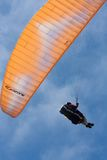 Orange paraglider at Torrey Pines Gliderport in La Jolla Royalty Free Stock Image