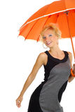 orange paraplykvinna Royaltyfri Fotografi
