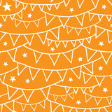 Orange Party Bunting Seamless Pattern Background Stock Images