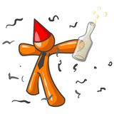 Orange party man. An illustration of a cartoon man in orange, wearing a red party hat and holding a large bottle, enjoying a party Stock Images
