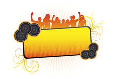 Orange party text frame royalty free illustration