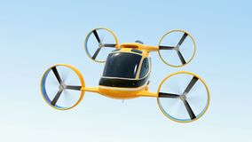 Orange Passenger Drone Taxi flying in the sky
