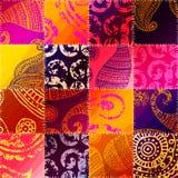 Orange patchwork med prydnaden royaltyfri illustrationer