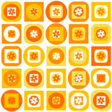 Orange pattern of geometric shapes and flowers Stock Images