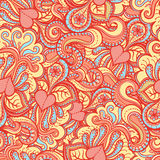Orange pattern with pink hearts Stock Photo