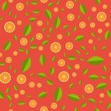 Orange pattern. Seamless pattern with orange and green leaf. Vector illustration for web royalty free illustration
