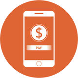 Orange pay and dollars sign design in a flat round button Royalty Free Stock Images