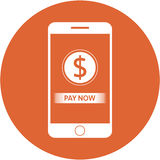 Orange pay now and dollars sign design in a flat round button Royalty Free Stock Images