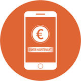 Orange pay now and euro sign design in a flat round button Stock Photos
