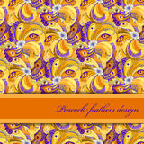 Orange peacock feathers pattern background. Text place. Royalty Free Stock Photo