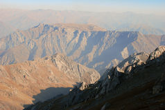 Orange peaks of the Tien Shan mountains Royalty Free Stock Images