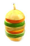 Orange, pear and apple in pyramid Stock Photos
