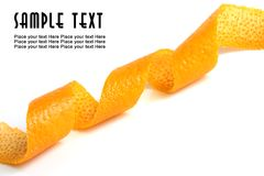 Orange peel. On a white background royalty free stock images