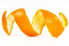 Orange peel. Spiral in white background stock images