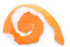 Orange peel. Orange unwraped to leave peel on white background royalty free stock images