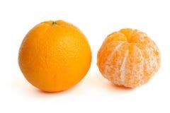 Orange without a peel. Isolated on white stock photo