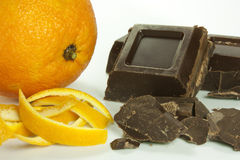Orange peel and chocolate Royalty Free Stock Photo