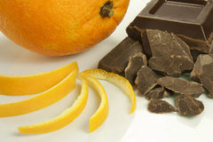 Orange peel and chocolate Royalty Free Stock Photos