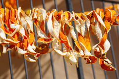 Orange peel hung out to dry Stock Photo