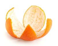 Orange peel isolated. Orange peel opened like flower isolated on white background, with clipping path stock photo
