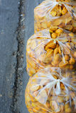Orange peel in a plastic bag Stock Photo