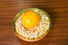 Orange peel on plate Royalty Free Stock Photography