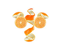 Orange peel and slice Royalty Free Stock Photography