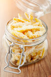 Orange peel sugared candy. In a glass can Stock Photos