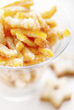 Orange peel sugared candy. With sugar stock images