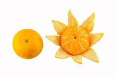 Orange peeled. Oranges set with peeled and non peel in isolated white background Royalty Free Stock Image
