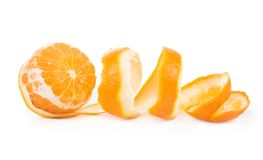 Orange peeled skin isolated white background Stock Photos