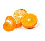 Orange with peeled spiral skin Royalty Free Stock Image