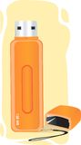 Orange pen drive. Illustration of two pendrives and cross section image of pendrive Stock Photos