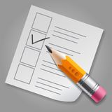 Orange pencil and checklist Royalty Free Stock Image