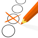 Orange pencil with cross Royalty Free Stock Images