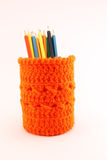Orange pencil-holders Royalty Free Stock Photos