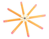 Orange pencils with erase Stock Photo