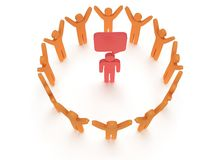 Orange people around red man. 3D render. Stock Photography