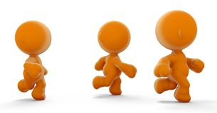 Orange people running Royalty Free Stock Photo
