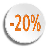 Orange 20 percent in round white button with shadow. Orange 20 percent in round white button Royalty Free Stock Photos