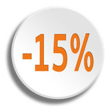 Orange 15 percent in round white button with shadow Royalty Free Stock Photography