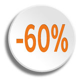 Orange 60 percent in round white button with shadow Stock Photo