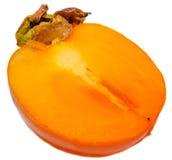 Orange Persimone (Kakipflaumenbaum, Diospyroskakipflaumenbaum) halbes O eine Frucht, Abschluss oben, lokalisierter, weißer Hinter Lizenzfreie Stockfotografie