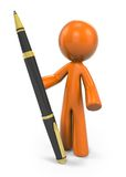 Orange person with pen Stock Images