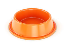 Orange pet bowl. Orange plastic pet bowl for dogs or cats isolated on white background. 3D illustration Stock Photo