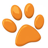 Orange pet paw, 3d. Orange pet paw symbol , 3d illustration Stock Photo