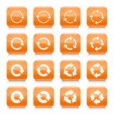 Orange Pfeil stellte Ikonen-Netzknopf des Zeichens quadratischen zurück vektor abbildung